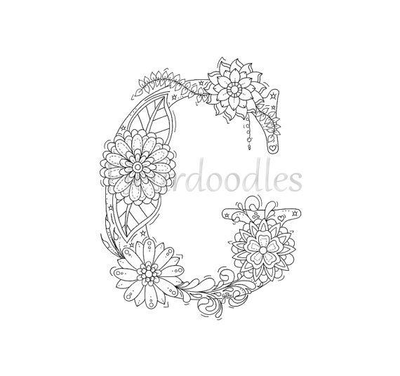 adult coloring page - floral letters, alphabet G, hand lettering ...