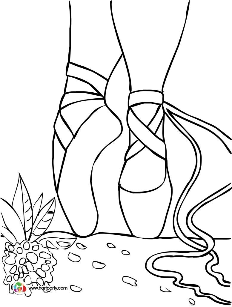 ballet shoes on point trace able coloring page for hart party