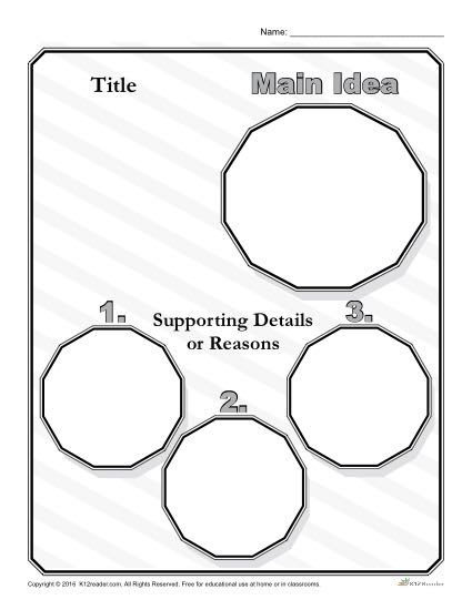 Main Idea and Details Graphic Organizer - Printable