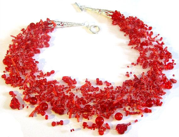 Red necklace Coral necklace Bright jewelry Seed bead by ensaga