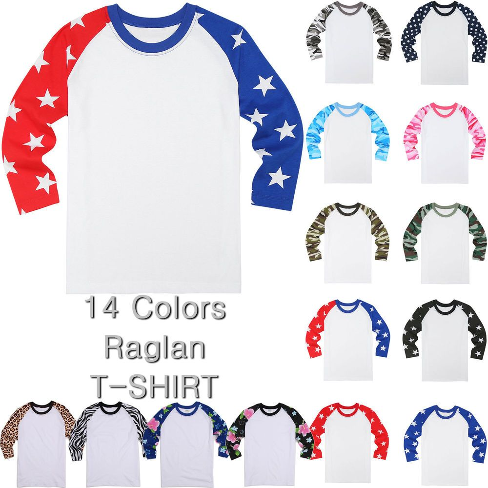 Pro tag 100 cotton 3 4 sleeve raglan baseball shirt in white black - 3 4 Sleeve Raglan Baseball Tee Jersey Team Sports Camouflage Star Flower Raglan