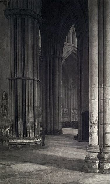 Frederick h evans view across the nave to the transept at york york minstergothic architecturevintage photographsblack white