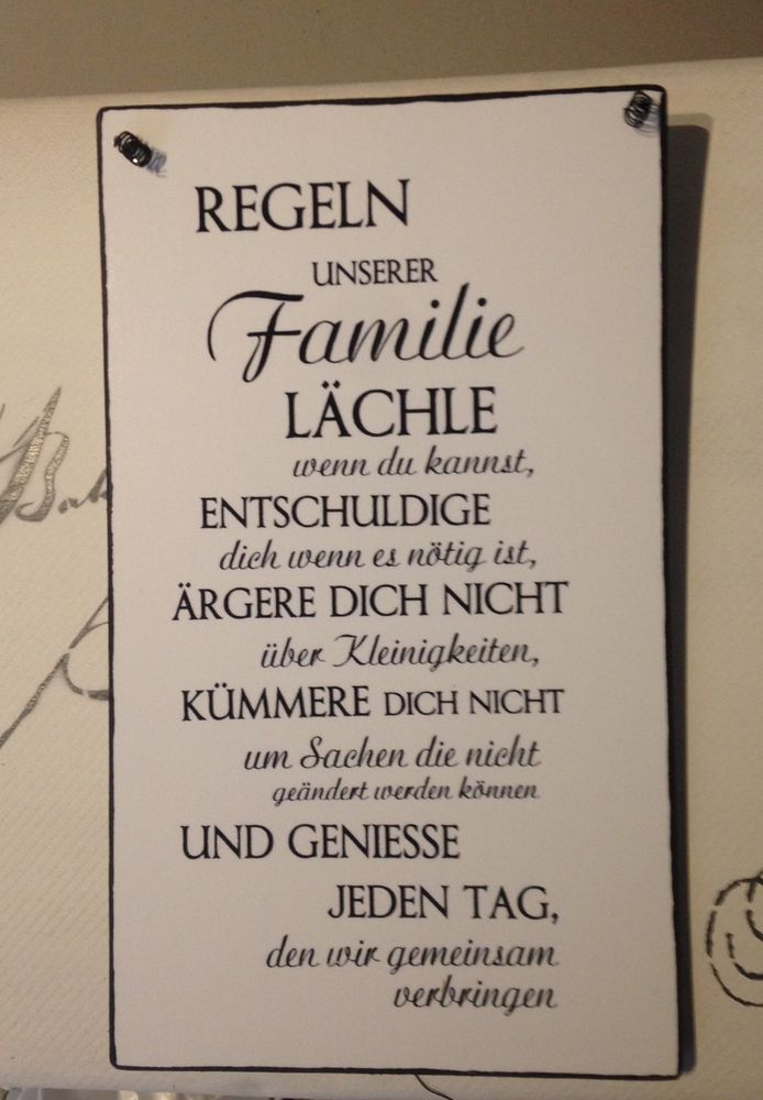 Familie Regeln Wandschild Deko Shabby Vintage In Möbel