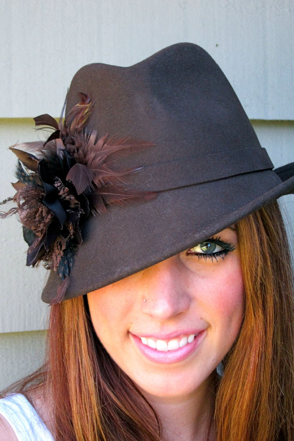 834cd8be89cd77 Unbalance Brim Brown Fedora with Feather Flower (only 1 left) | Dress  Up-Accessorize! | Hats, Fascinator hats, Fedora fashion