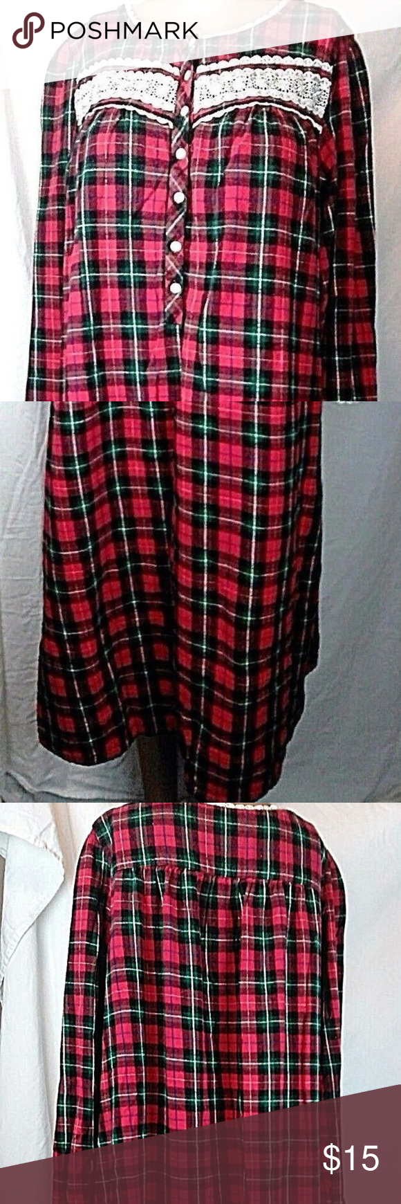 Red flannel nightgown  Croft u Barrow Intimates Plaid Flannel Nightgown M  My Posh Closet