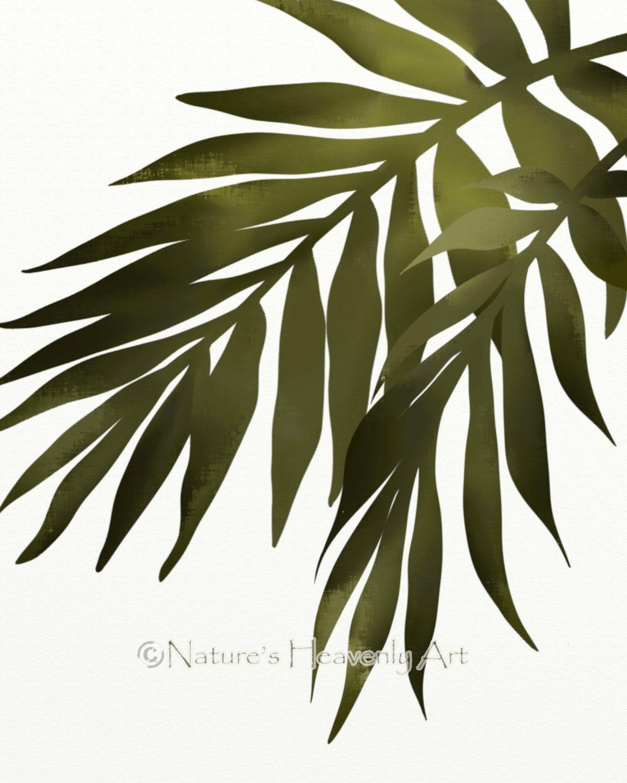 Green Palm Leaf Wall Stickers | Palm Leaf Wall Art Print, Tropical Decor, 8