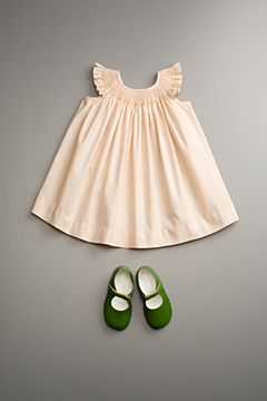 neutral dress, but shoes pop - love these colors, cream and moss