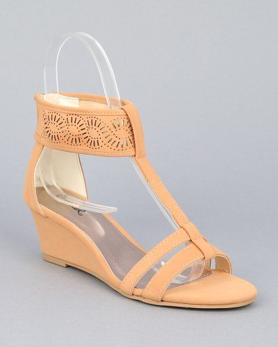c56acedac47626 Qupid Amor-128x New Ankle Cuff T-Strap Low Wedge Sandal - Nude Nubuck PU