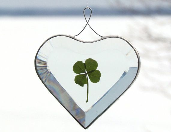 Beveled Glass Heart Ornament with a Genuine Four by SNLCreations, $27.50