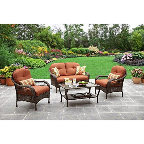 Patio All Weather Outdoor Furniture Set That Seats 4 Comfortably For Enjoying Campfires In The Back Yard Outdoor Patio Decor Patio Decor Conversation Set Patio