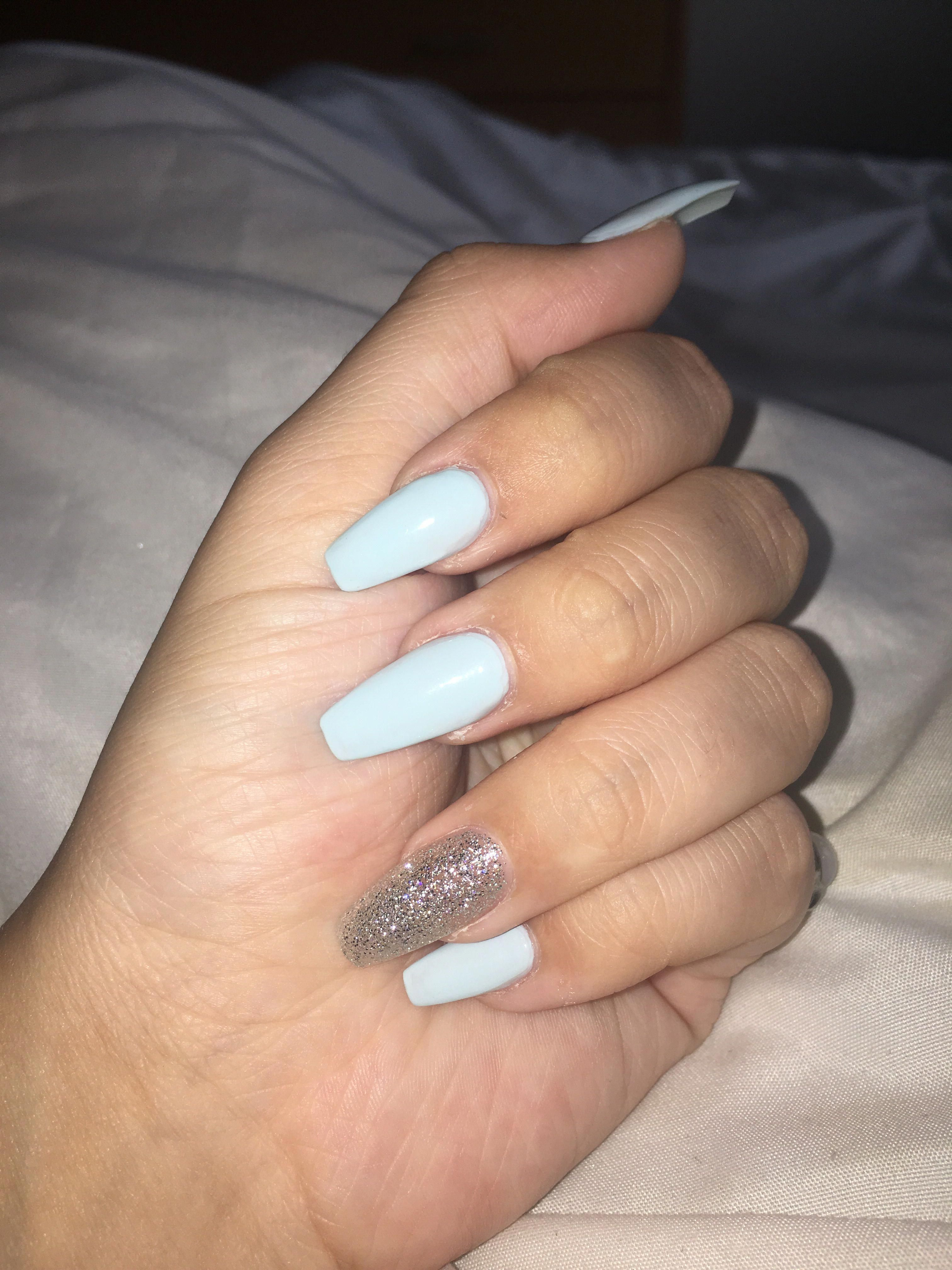 Baby blue coffin acrylics with silver accent nail