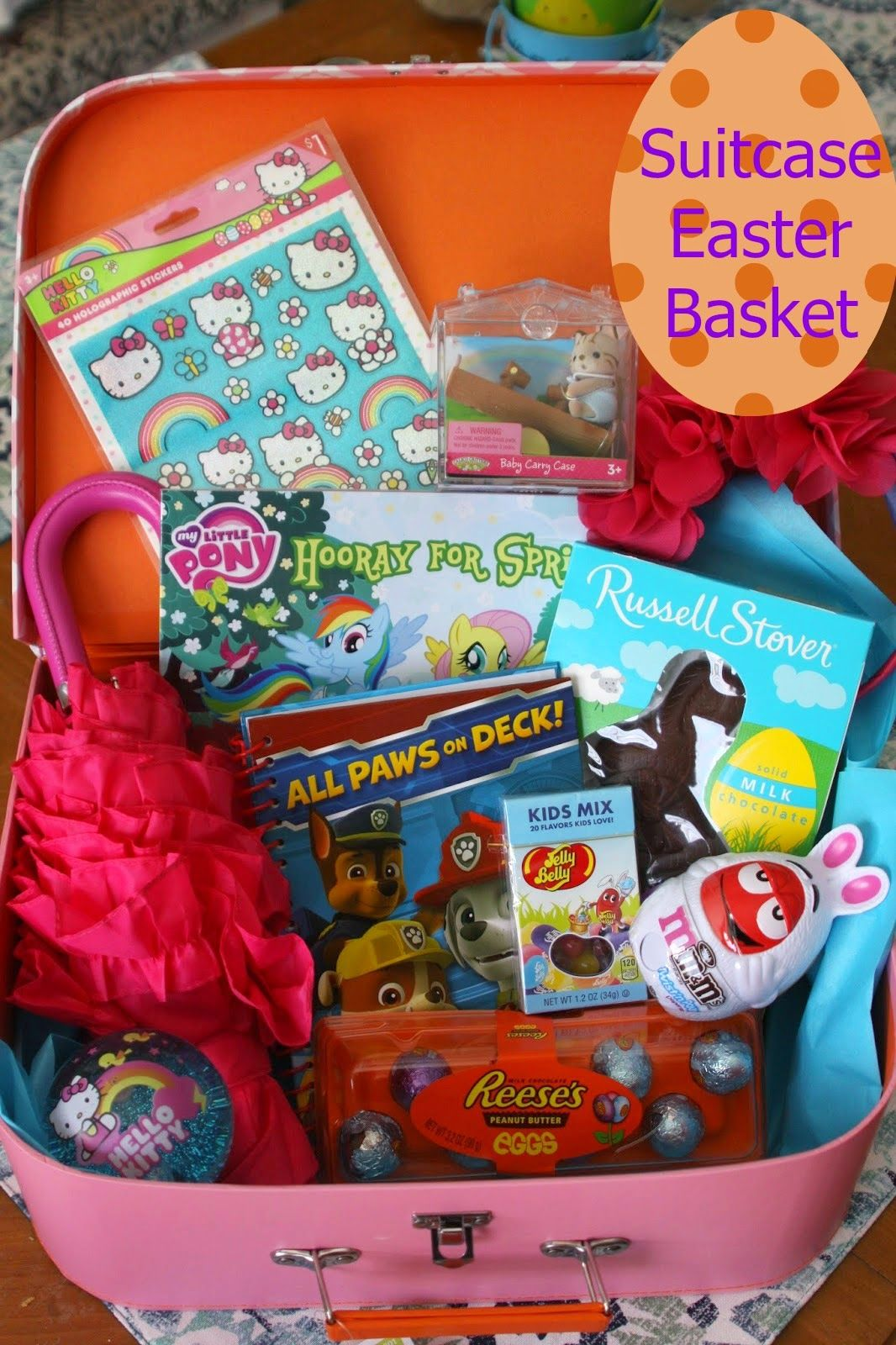 A great take on the easter basket easter suitcase so cute diys awesome gift giving idea easter suitcase much better than a basket negle Images