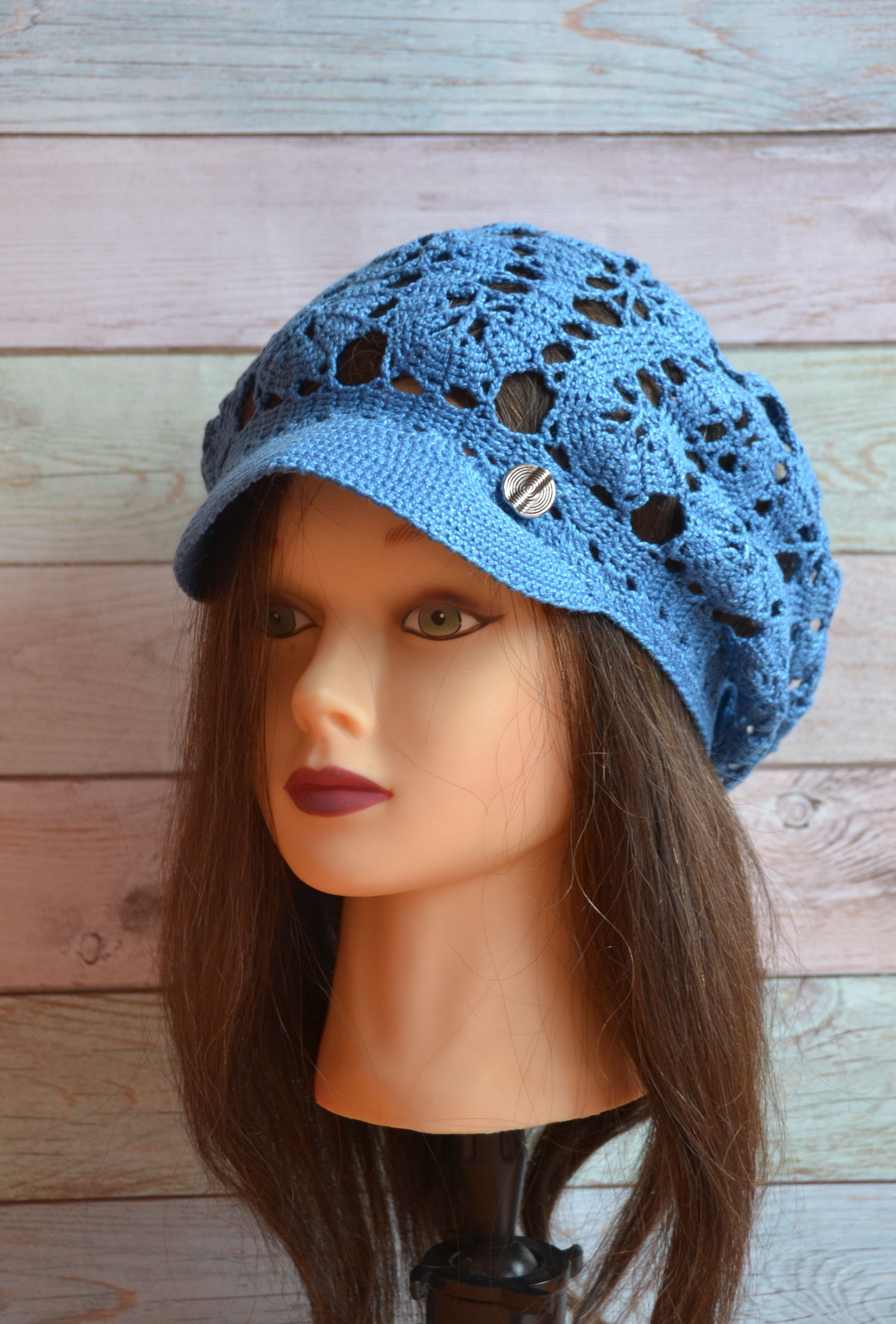 f3e3dae7fbe Crochet Cotton Brim Cap Beret visor Summer Slouchy Textured Mesh ...