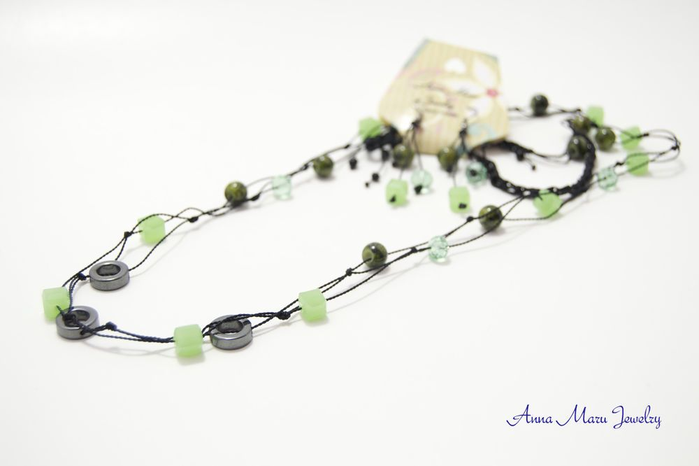 """Knotted necklace set, Hematite rings, green crystals, mix material beads, 34"""" #Handmade"""