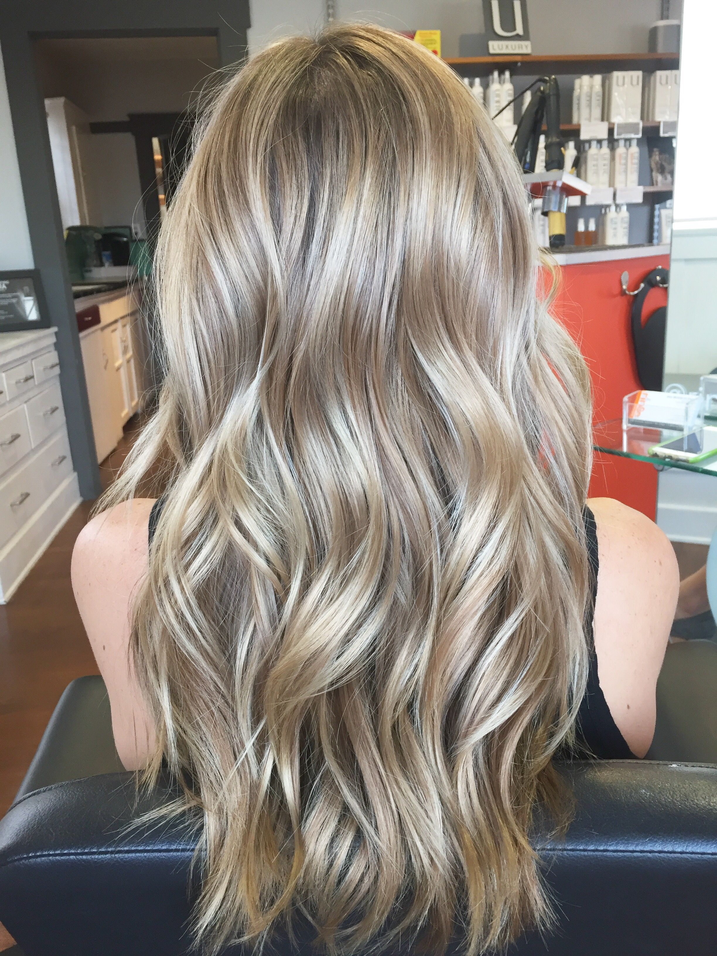 Balayage Hair Painted Her To Create A Beautiful Cool Blonde And Styled Her With Beachy Wave Ash Blonde Hair Colour Dark Blonde Hair Color Light Ash Blonde Hair
