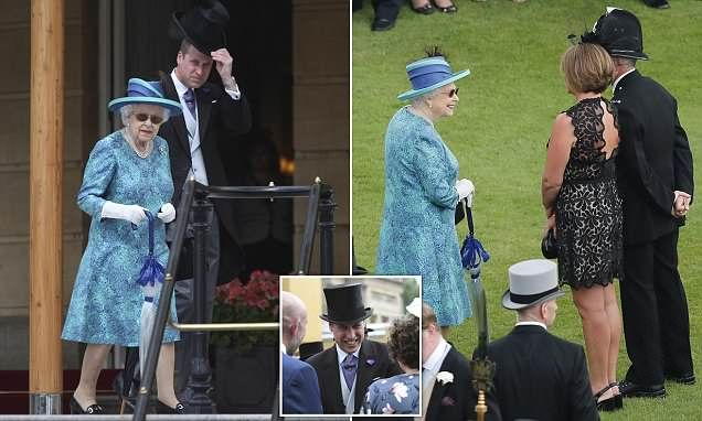 The Queen and Prince William host Buckingham Palace garden party is part of British garden Party - The Queen, 92, looked stylish in a pair of small oval sunglasses as she hosted a garden party at Buckingham Palace on Thursday  The event recognised the work of community leaders