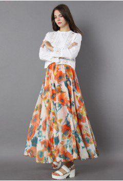 Orange Blossom Watercolor Maxi Skirt - Retro 3866565d4