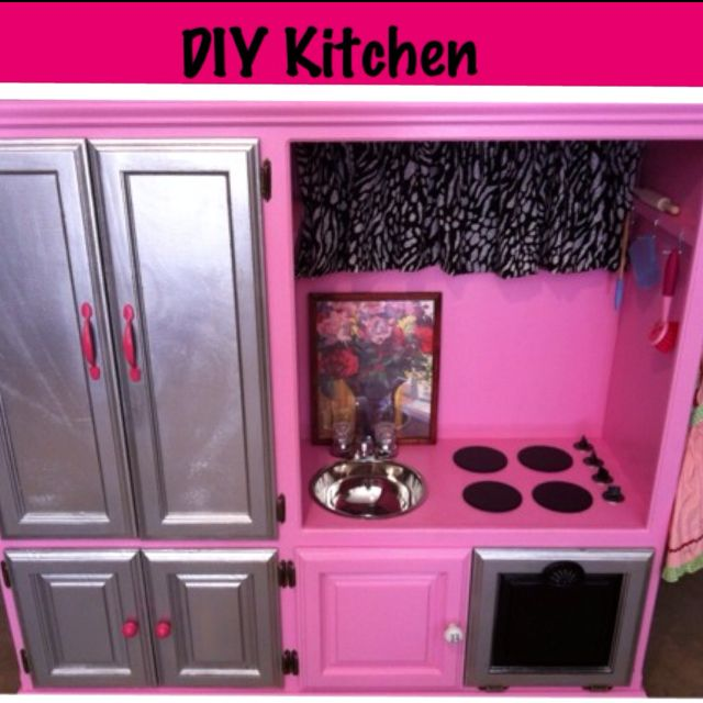 Entertainment Center Kitchen Set: DIY Kids Toy Kitchen For $100 OOP How I Did It: $40