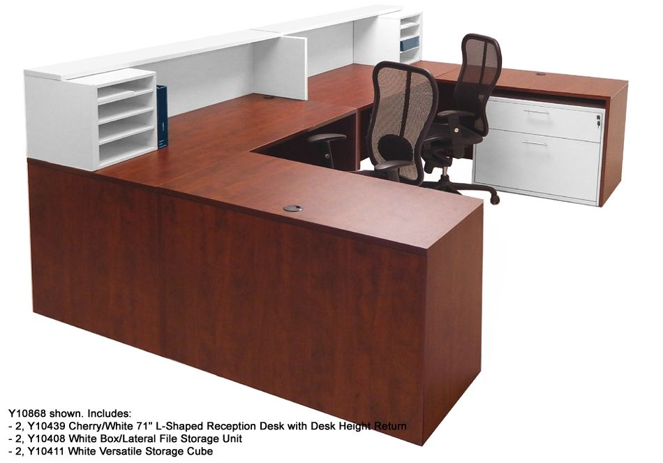 2 person office desk. Cherry \u0026 White Structures 2-Person Reception Desk 2 Person Office