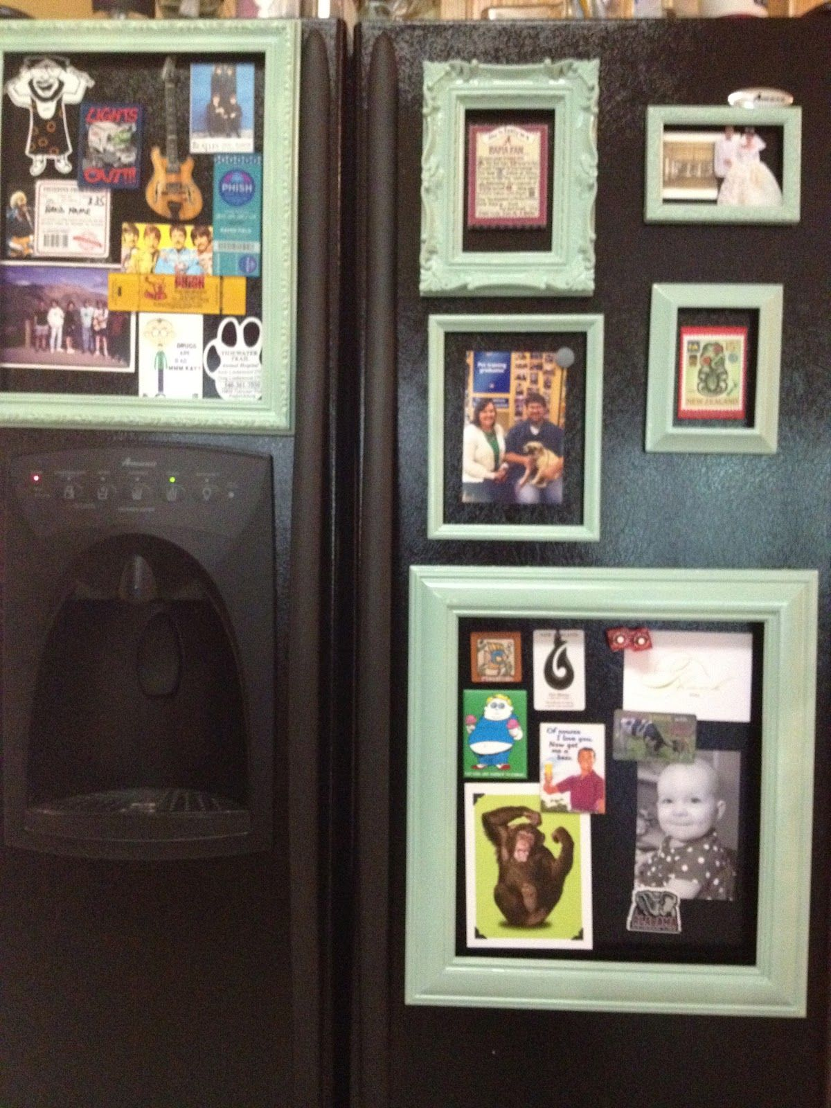 This DIY Magnetic Fridge Gallery will turn your kitchen into the Louvre. This would look neater than scattered objects.