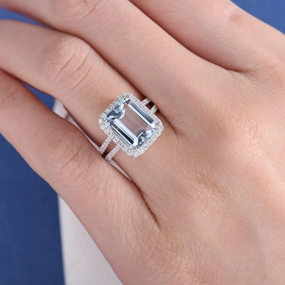 18K Emerald Cut Aquamarine Engagement Ring Halo Aquamarine Ring Diamond White Gold Wedding Split Shank Bridal March Birthstone Anniversary Ring DJ321 #aquamarineengagementring