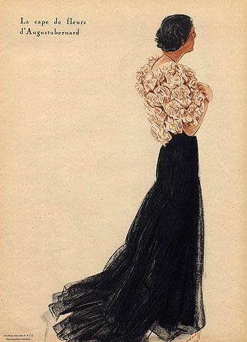 Alexandre Iacovleff 1934 Evening Dress and flower cape.