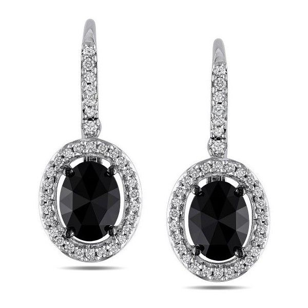 Amour 14k White Gold Black and White Diamond Oval Lever Back Earrings ($1,178) ❤ liked on Polyvore