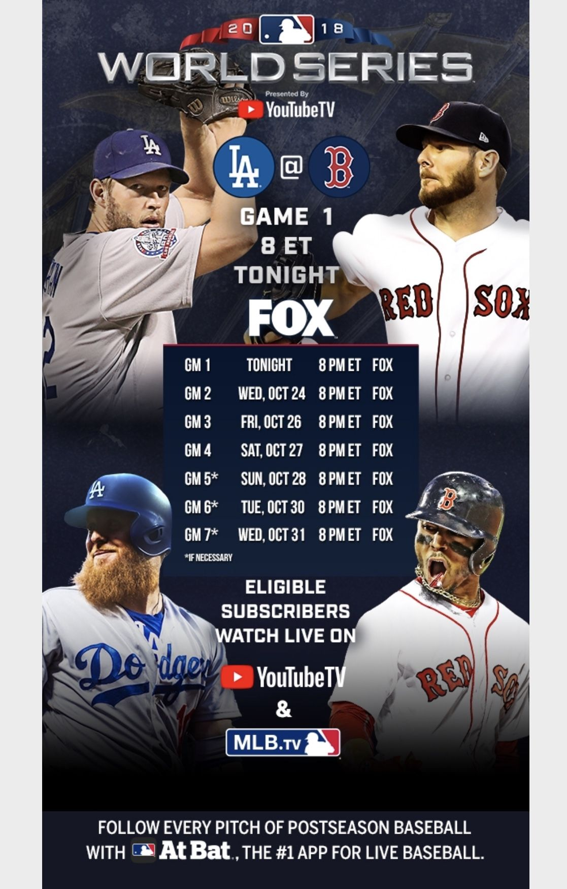 2018 World Series Schedule Red sox, World series, Game 1