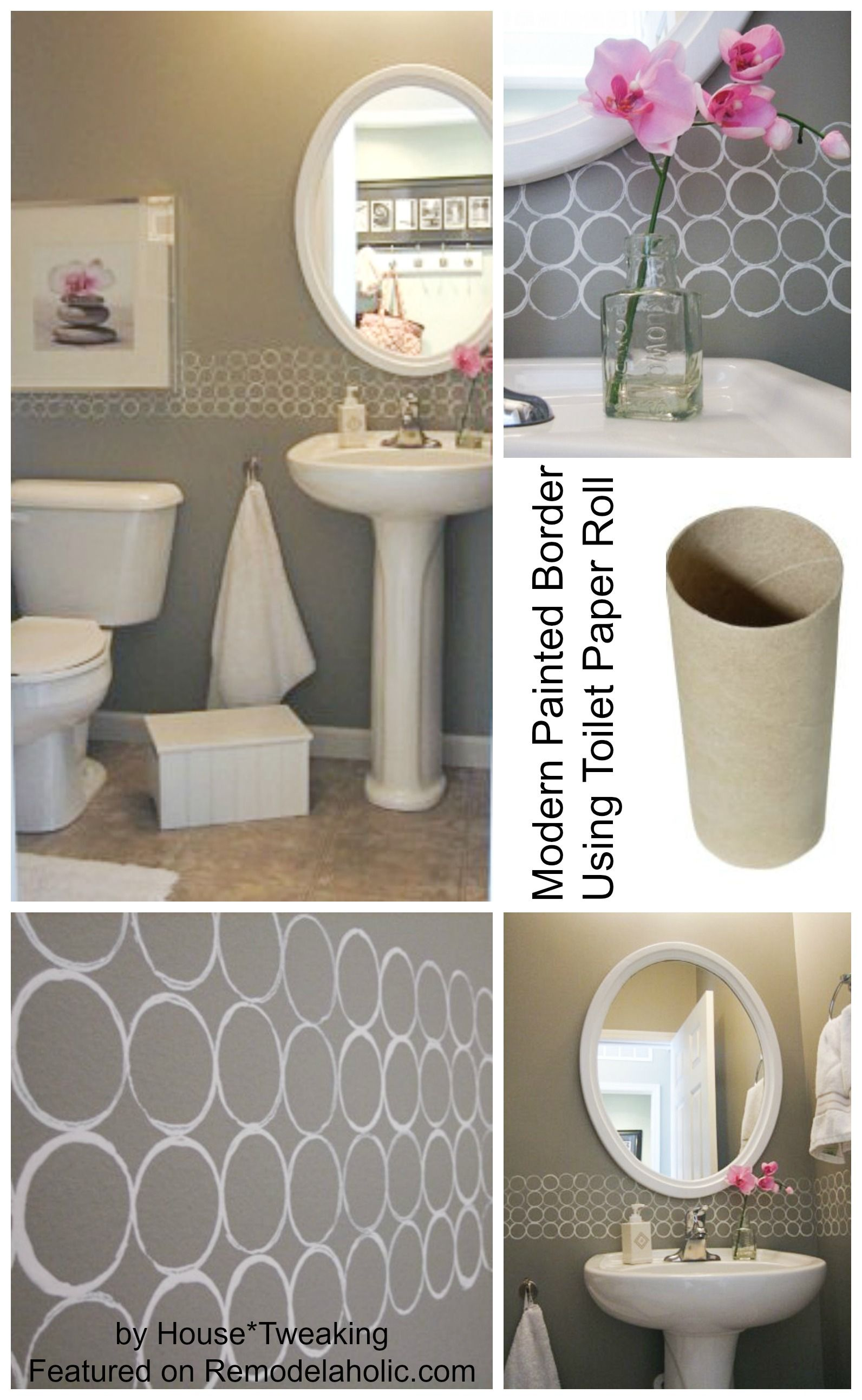 Modern painted border using toilet paper roll stencil paint colors for home diy painting