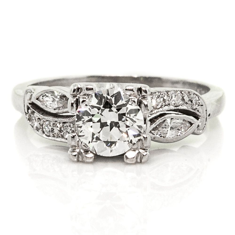 Vintage Old European & Marquise Cut Diamonds Platinum Ring
