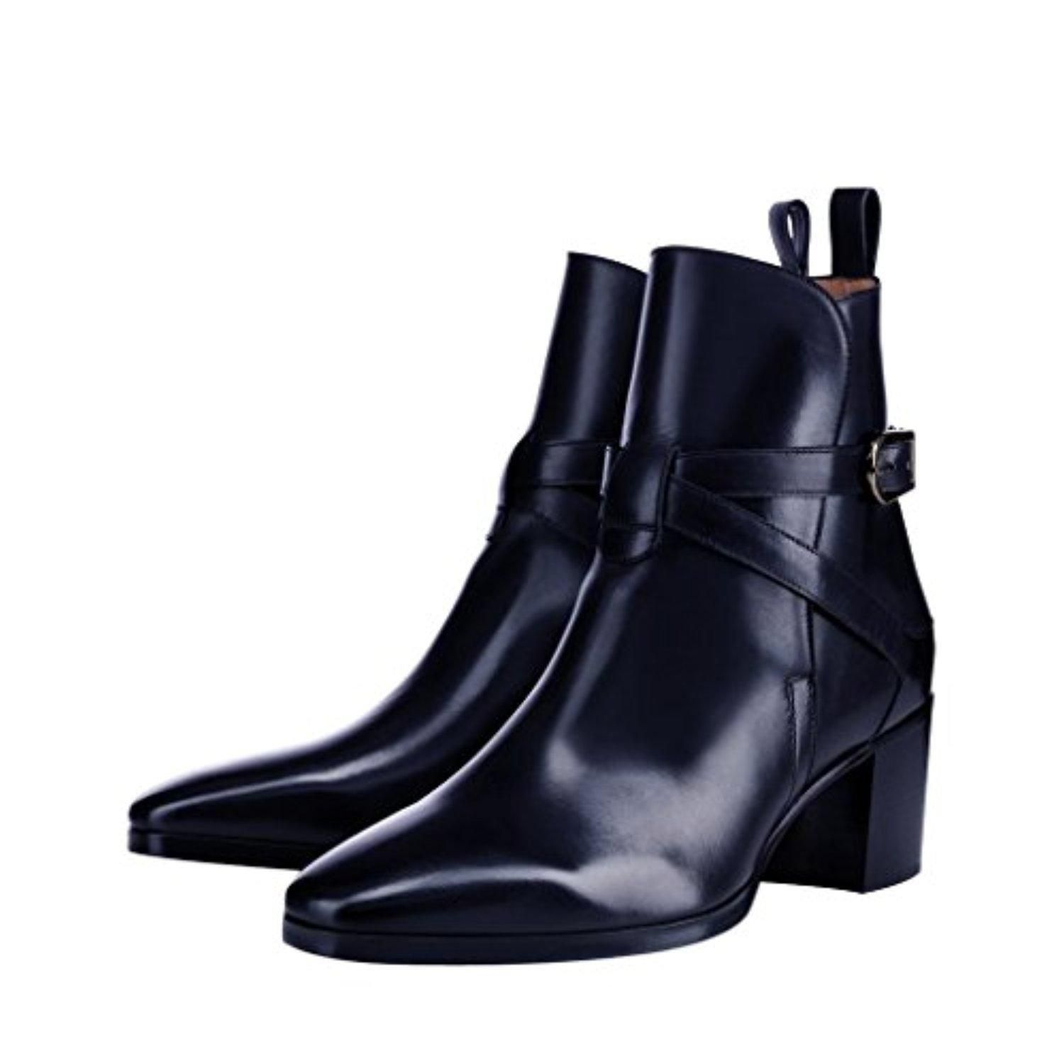 Womens Ladies Strap Chelsea Booties Low Cuban Heel Ankle Casual Boots Shoes Size -8 FM_6860