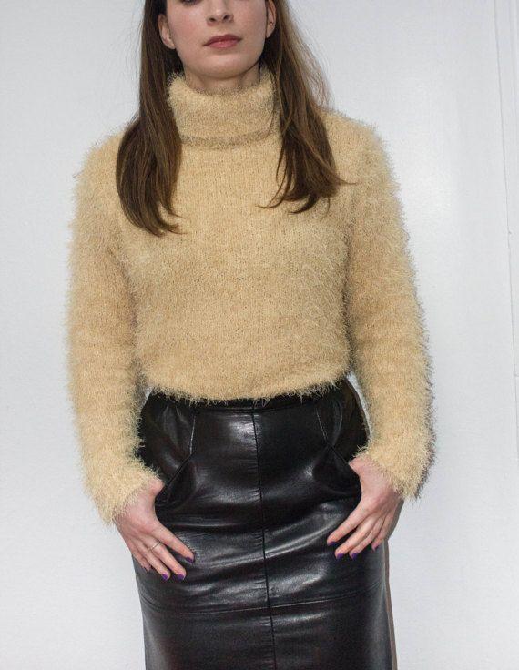 acf7da1c1b Fluffy Fuzzy Soft Sweater Turtleneck Yellow Mustard Grunge Vintage 90s Long  Sleeve Small Medium
