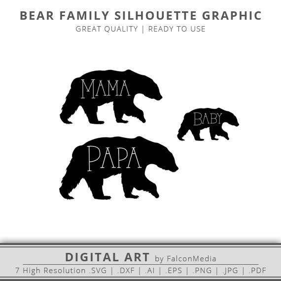 bears family svg mama bear svg papa bear svg baby bear outline