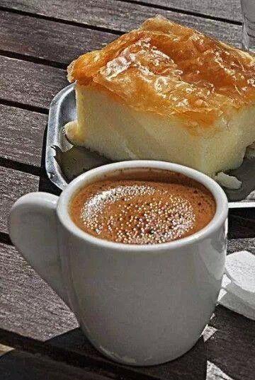 greek coffee and galaktompoureko