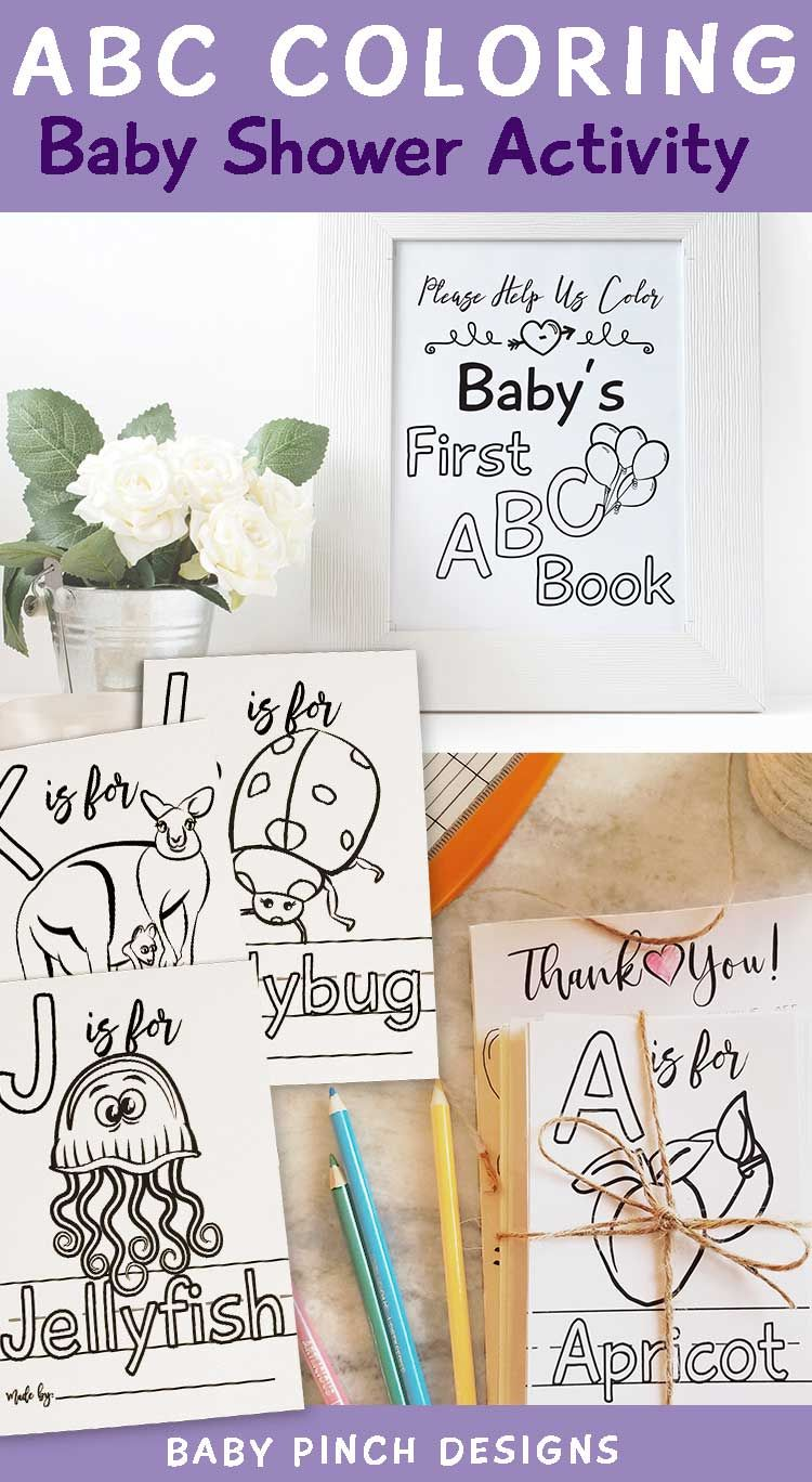 Virtual Baby Shower Games Book Themed Abc Book Baby S First Book Activity Alphabet Coloring Pages Personalized Homeschool Mom Preschool In 2020 Baby Shower Activities Alphabet Coloring Pages Baby Shower