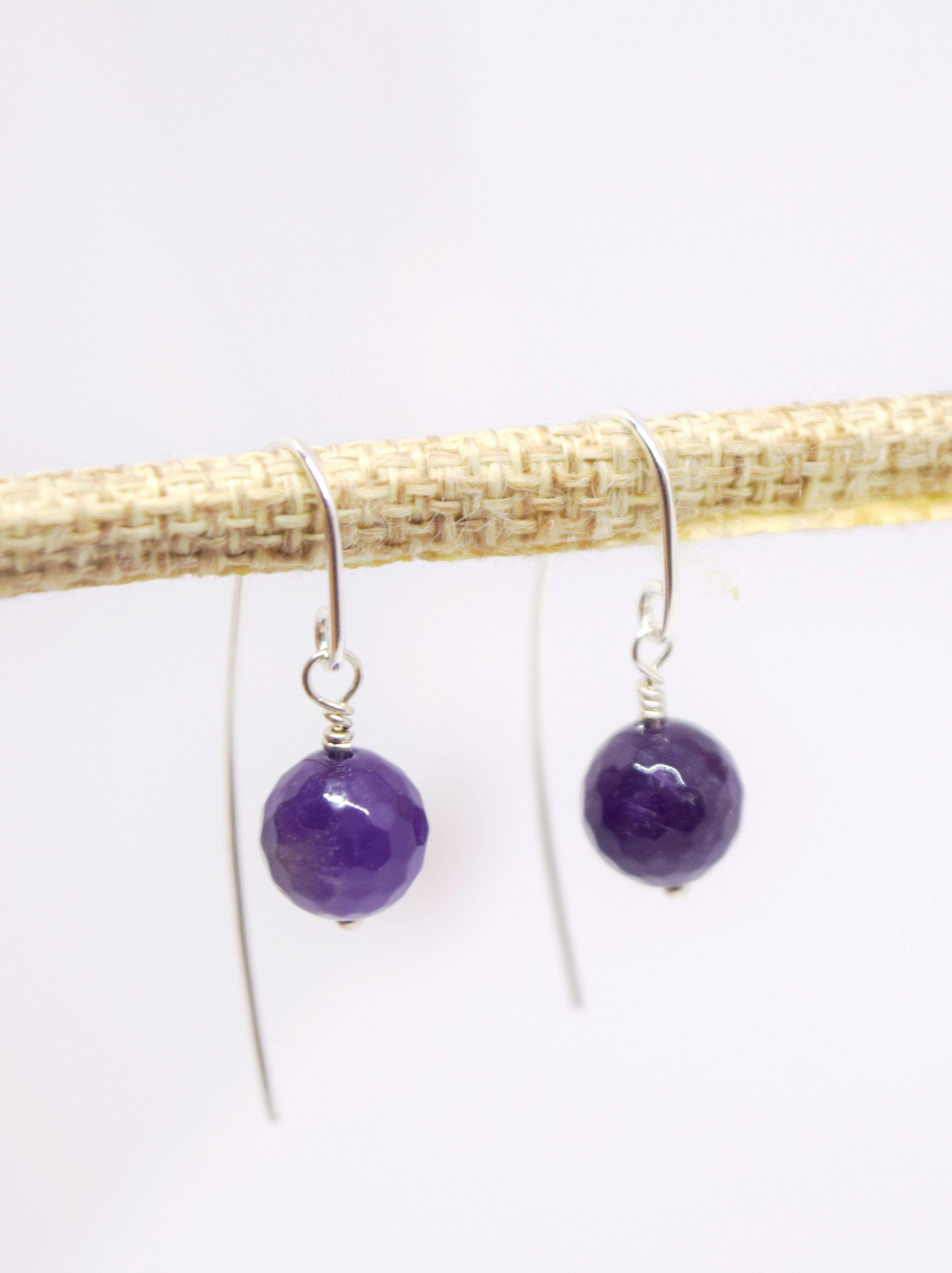 14k Gold Over 925 Sterling Silver Natural Briolette Lavender Amethyst Earrings