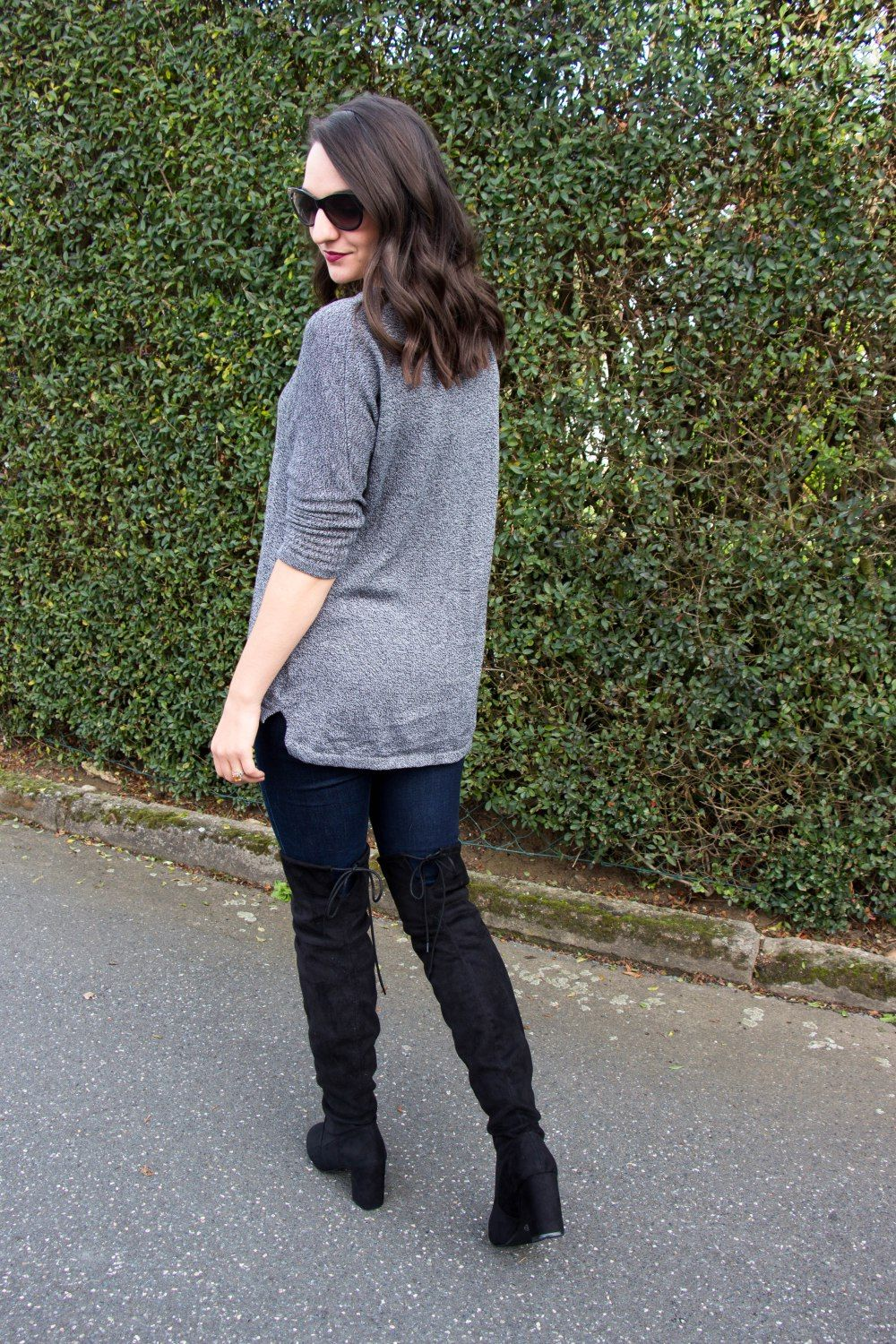 Over the Knee Black Boots for Fall with a Casual Sweater- Countdown to Friday