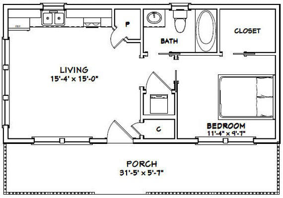32x16 House 1 Bedroom 1 Bath 512 Sq Ft Pdf Floor Plan Instant Download Model 1 Pool House Plans Guest House Plans One Bedroom House