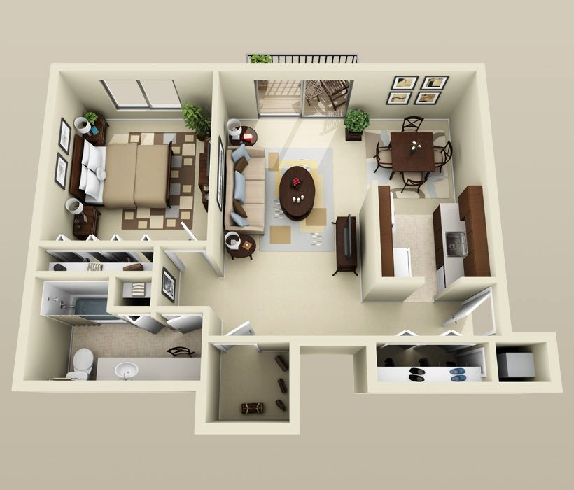 50 One 1 Bedroom Apartment House Plans Architecture Design One Bedroom House Floor Plan Design House Plans