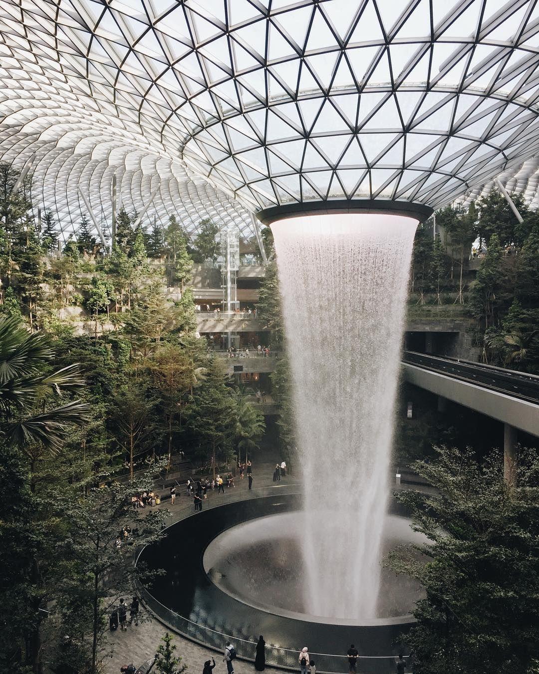 Jewel Changi Airport Indoor Waterfall Shopping Mall Waterfall