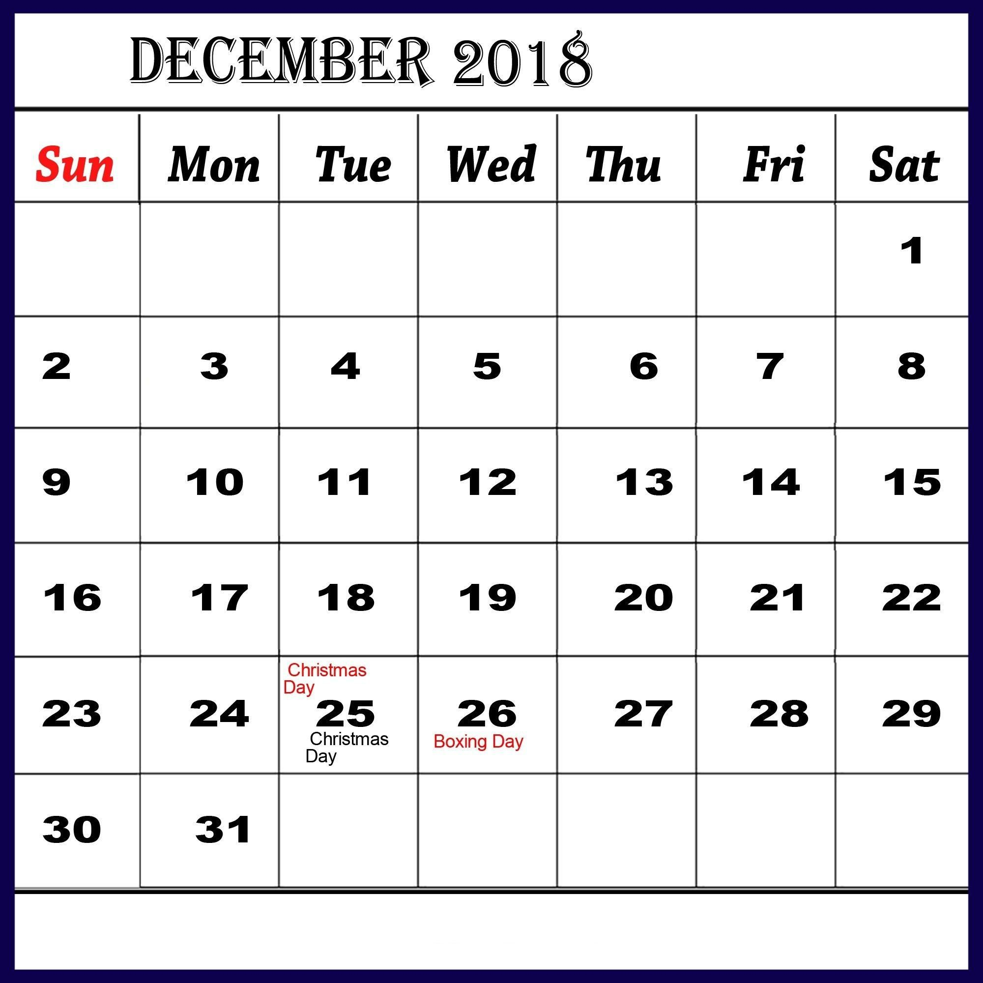 December Calendar Printable With Holidays With