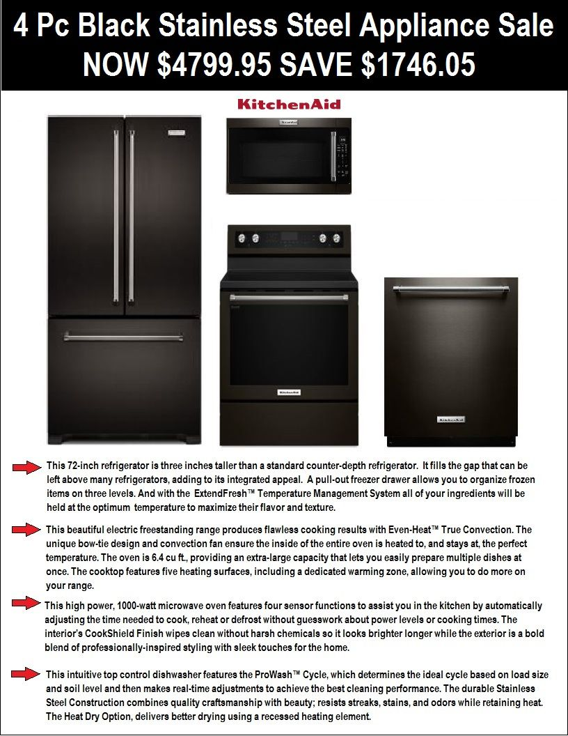 4 Pc Black Stainless Steel Appliance Package Deal Refrigerator