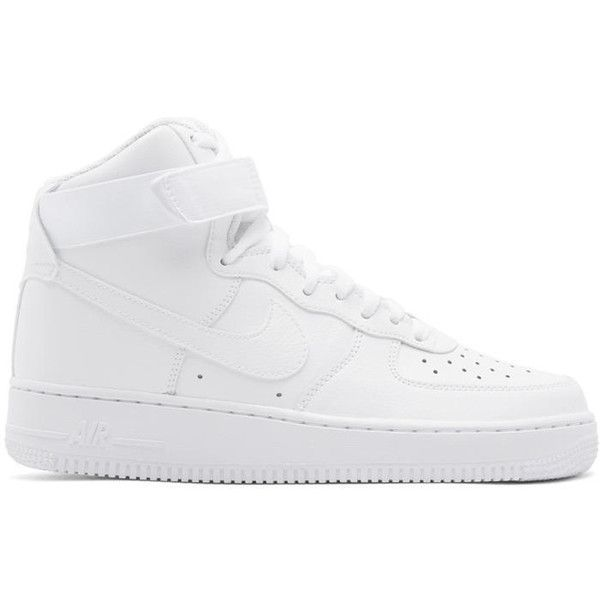 Nike White Air Force 1 07 High Sneakers ($110) ❤ liked on Polyvore  featuring men's fashion, men's shoes, men's sneakers, white, mens white  sneakers…