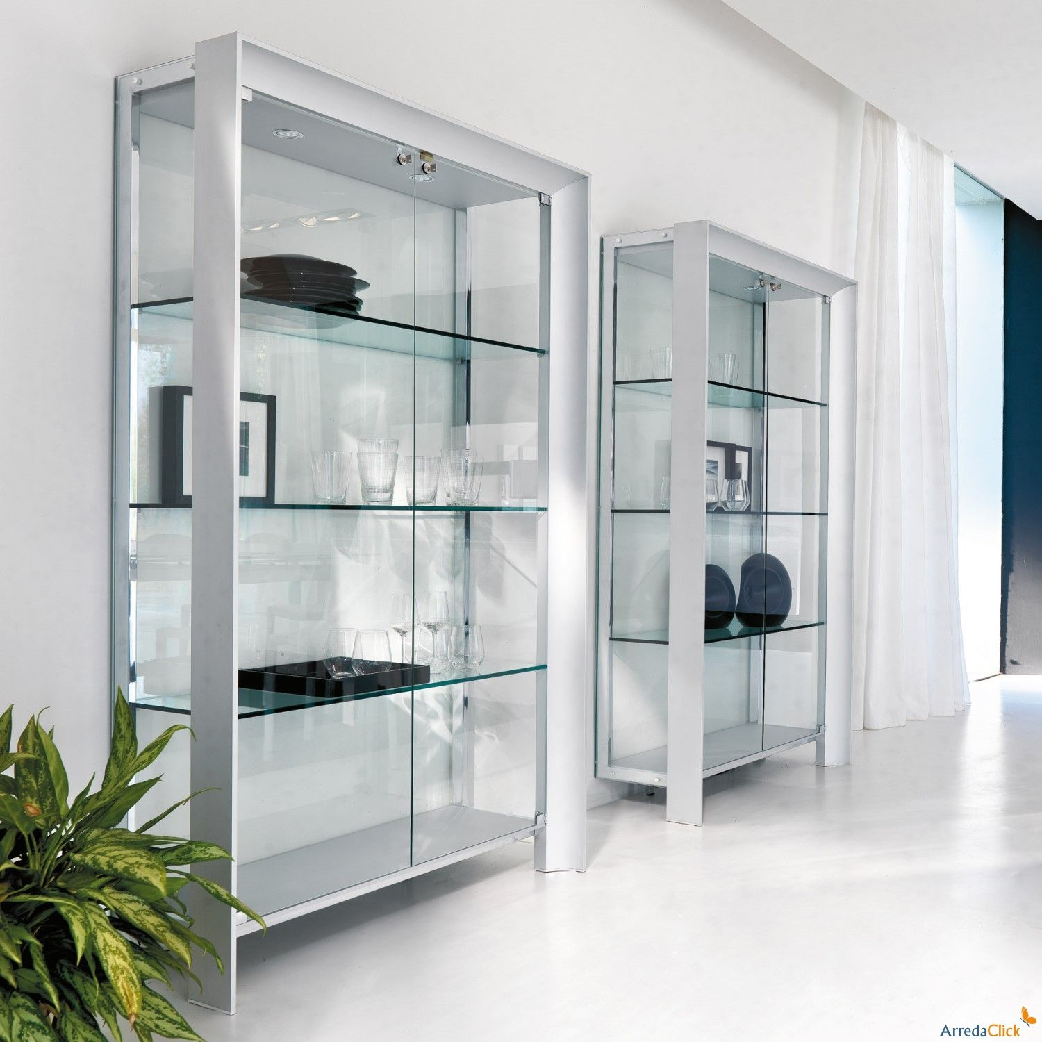 Miami display cabinet with satin anodized aluminium profile ...