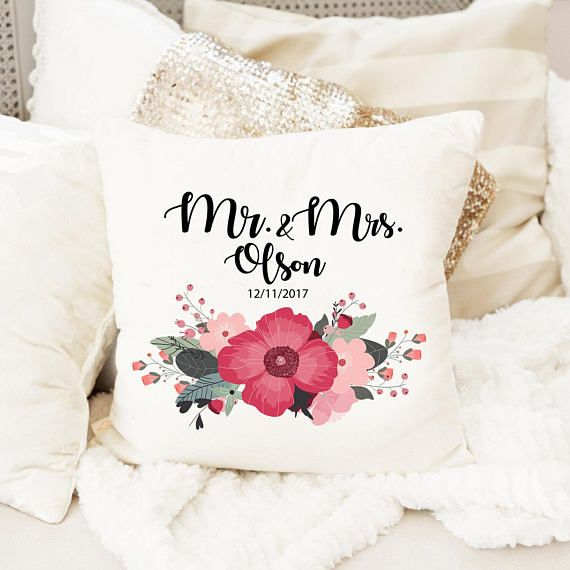 Personalized Wedding Gift Mr And Mrs Pillows Custom Name Gift