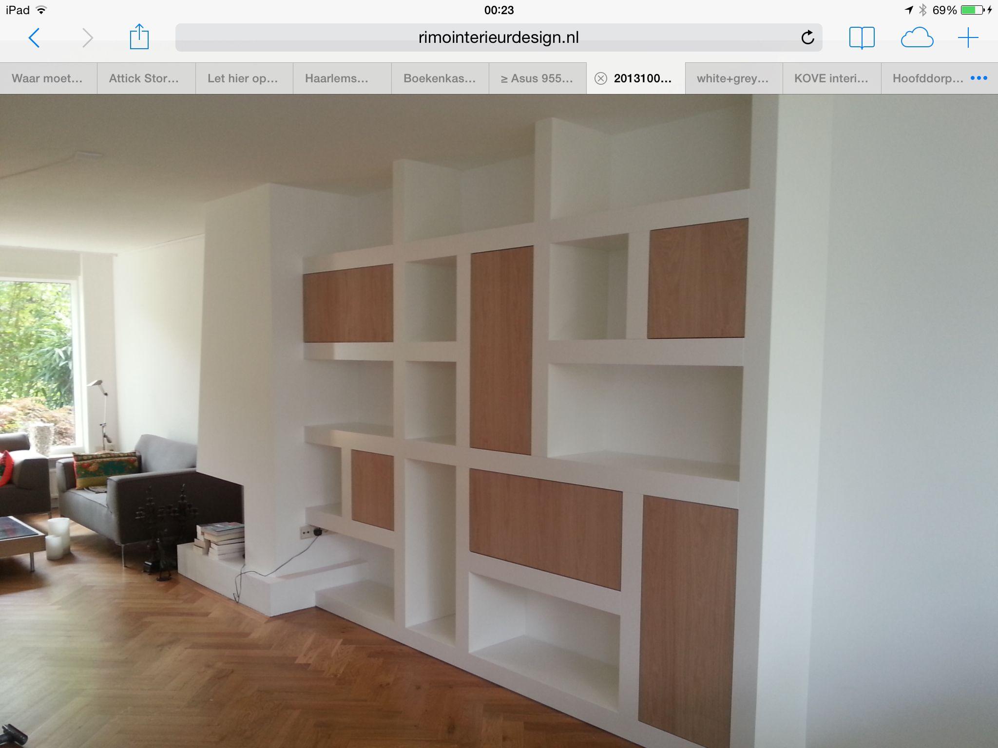 Boekenkast met open en dichte delen, wit en op maat ( tot aan ...