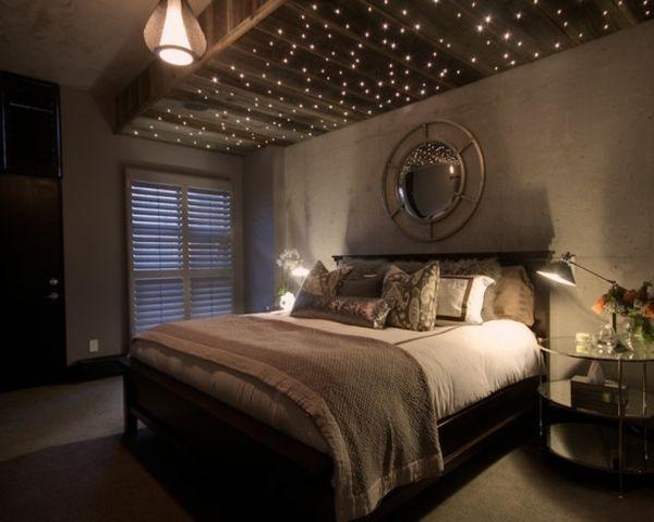 Sternenhimmel Schlafzimmer ~ Schlafzimmer weihnachtlich dekorieren lichterketten apartment