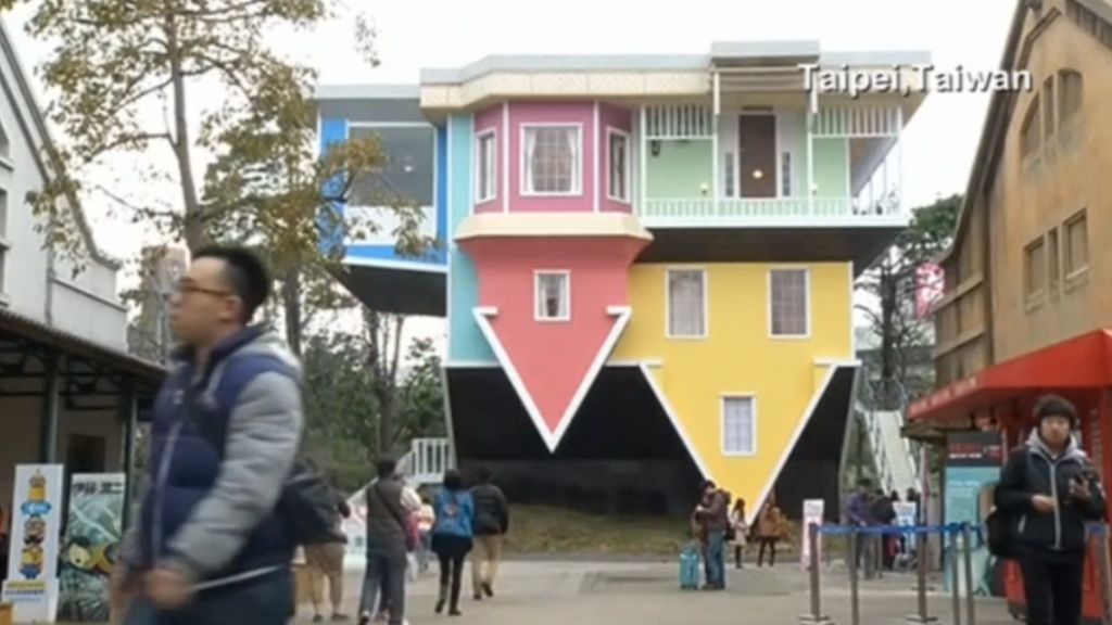 Taipei's upside-down town house draws a crowd