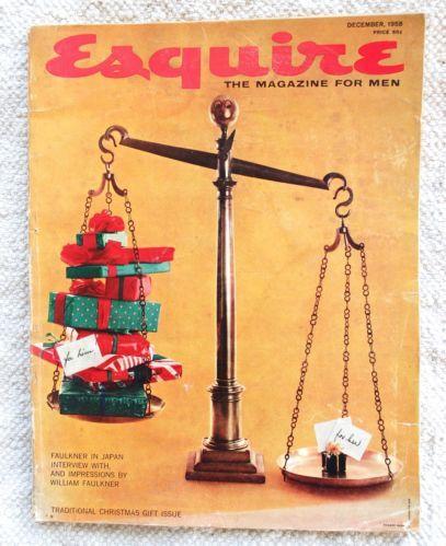 Christmas Gift Guide Magazine.Esquire Magazine December 1958 William Faulkner Christmas
