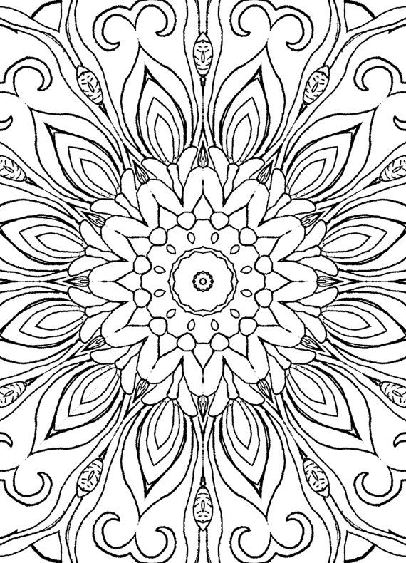25 Coloring Pages including Mandalas, Geometric Designs